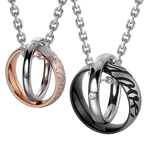 Urban Jewelry Beautiful His & Hers Couples Love Rings Pendant Necklace 19