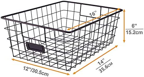Sunny Living Metal Wire large Food Organizer Storage Baskets for Kitchen Cabinets,pantry,freezer,closet,4 pack Brown