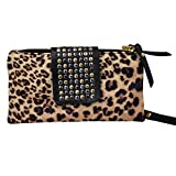 Felice Women Soft Leather Wristlet Clutch Folded Rivets Zipper Wallet Evening Bag (Leopard Print)