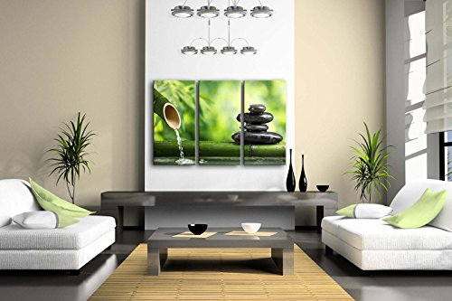 3 Panel Wall Art Green Spa Still Life With Bamboo Fountain