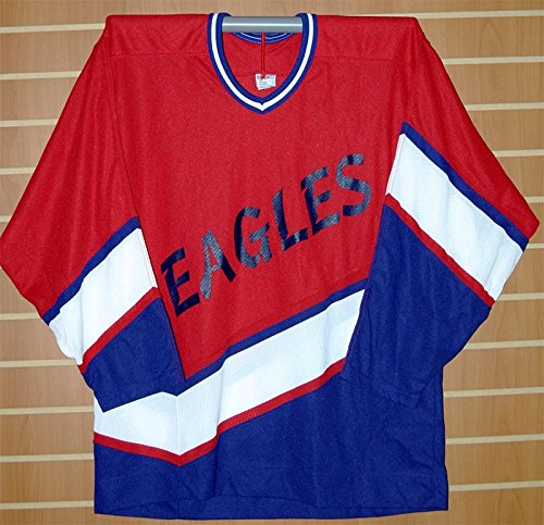 Amazon.com  Eagles Minor League CCM Authentic Red White Blue Hockey Jersey   Sports Collectibles b87f040346f