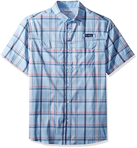 Columbia Mens Super Low Drag Short Sleeve Shirt, Sail Open Plaid, X-Large