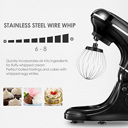 Kealive Stand Mixer, 8 Speed 700 Watt Kithchen Mixer with 5-Quart Stainless Steel Bowl, Dough Hooks, Whisk, Beater, Pouring Shield, Dough Mixer, Black by Kealive (Image #4)