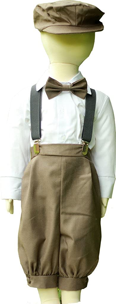 Boys Vintage Dress Knicker Suit Set - Bowtie Suspenders Knickers Newsboy Hat 5pcs Set