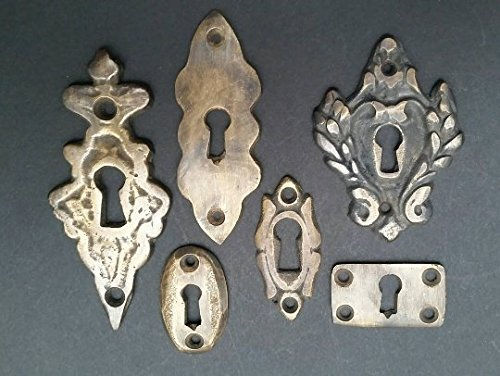 """6 various antique style escutcheon key hole covers ornate 1-3"""" solid brass #E"""