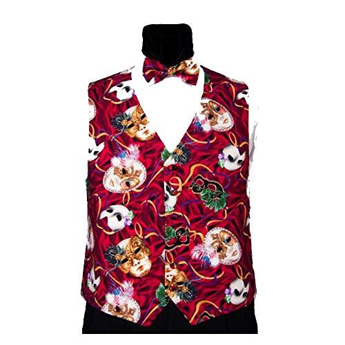 Mardi Gras Phantom Masks Tuxedo Vest with Matching Bow Tie