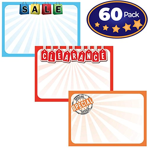 Retail Genius Sale Sign Bulk Variety 60 Pack. Durable 5x7 Price Tags Promote Business At Yard, Estate and Garage Sales. Special Display Card Supplies For Pawn Shops, Flea Markets and Clearance Stores by Retail Genius