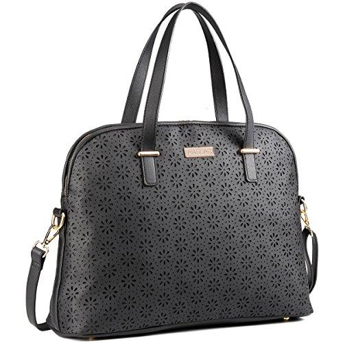 Laptop Bag for Women- Leather Tote Shoulder Bag Purse Handbag- Laser Cut