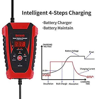 6 Amp 12V 6V Battery Charger Battery Detector 2-in-1 Automatic Trickle Charging with LCD Display and Clips Cable Auto 2 Amp Maintain: Automotive