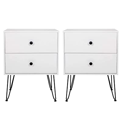 Buy Scurrty Nightstands Set Of 2 White Bedside Table Sofa End Tables With 2 Storage Drawers Night Stands For Bedrooms Metal Legs Small Bedside Night Table For Small Spaces Living Room Furniture
