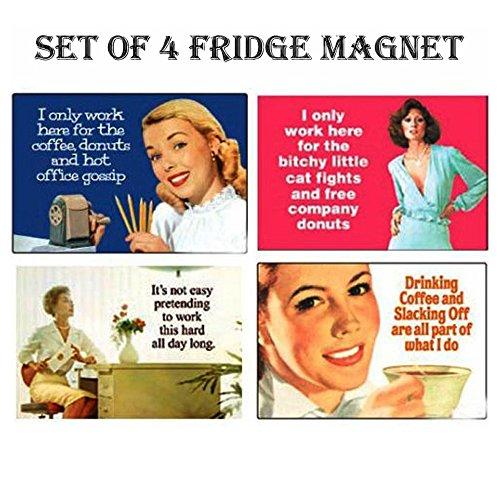 SET OF 4 OFFICE RETRO FUNNY REFRIGERATOR MAGNETS FRIDGE MAGNETS - (Funny Refrigerator)