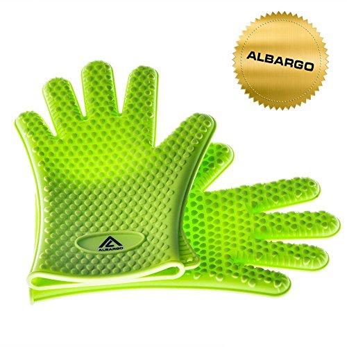 ALBARGO - Bestbewährte hitzebeständige Silikon Topfhandschuhe - 1 Paar originale ALBARGO Backofenhandschuhe - vielseitig einsetzbar in Haus und Garten, Spülmaschinenfest Premium Qualität