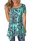 Defal Women Summer Floral Print Loose T-Shirt Casual Irregular Hem Flowy Tunic Tops (Green 1,XXL)