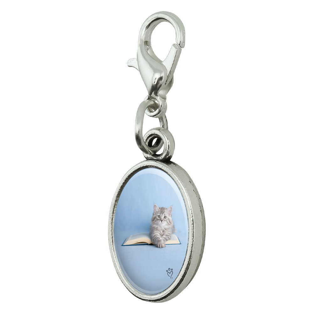 GRAPHICS /& MORE Siberian Tabby Kitten Cat Sitting Reading Book Antiqued Bracelet Pendant Zipper Pull Oval Charm with Lobster Clasp