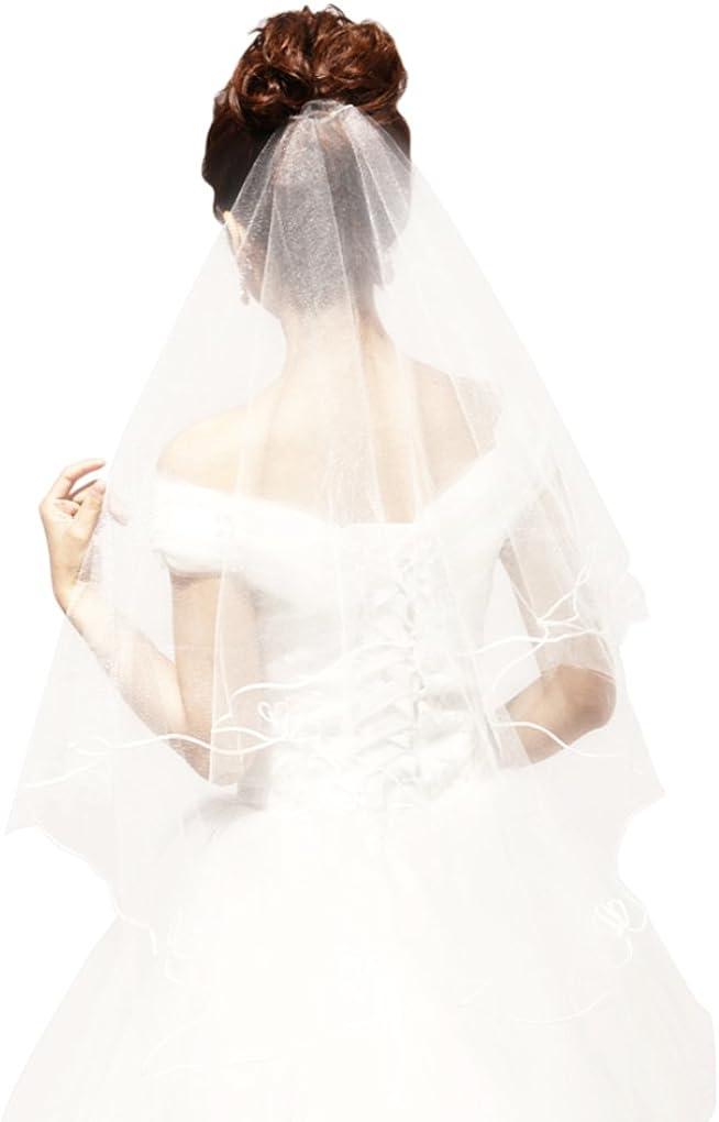 Voiles de Mari/ée Longue en Dentelle Applique avec Peigne Voile de Mariage Accessoires de Coiffure de Mari/ée Voiles de Cath/édrale Bordure de Tulle Applique D/écoration Accessoire de mariage Mousseline