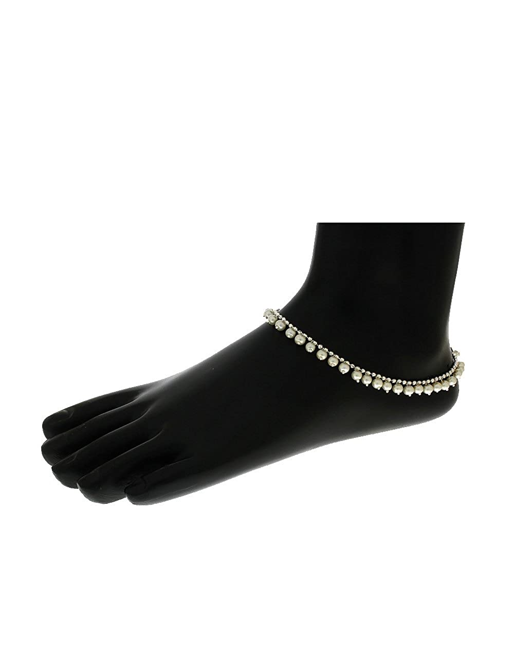 Anuradha Art Silver Colour Styled with Pearls Beads Designer Anklets//Payal for Women//Girls