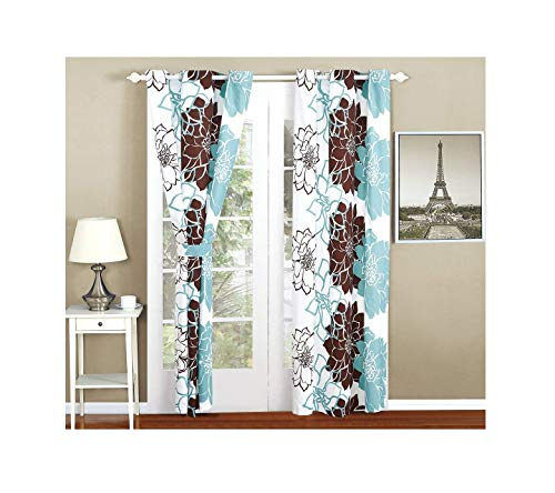 All American Collection New 4pc Printed Curtain Set for Reversible Bedspread Set with Dust Ruffle (4PC Curtain ONLY, ()