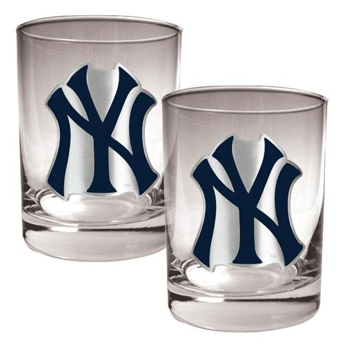 MLB New York Yankees Two Piece Rocks Glass Set - Primary Logo (New York Yankees Rock)