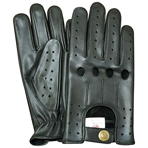 Slim Fit Retro Style Soft Real Leather Men's Driving Gloves Unlined Chauffeur 507 (BLACK, M)