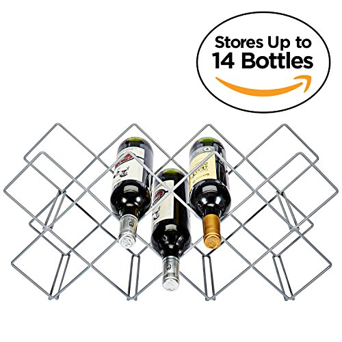 Wine Rack, 14-Bottle Countertop Wine Holder Stand, Metal