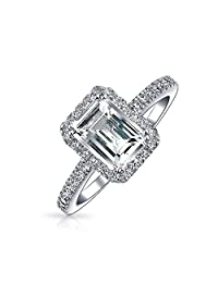 Bling Jewelry Emerald Cut CZ Silver Vintage Style Engagement Ring 1.5ct