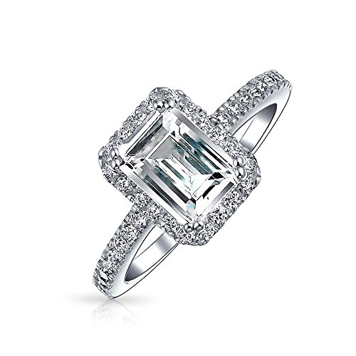 2 CT Emerald Cut Cubic Zirconia Thin Pave Band Halo CZ Deco Style 925 Sterling Silver Engagement Promise Ring For Women