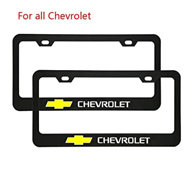 Zhengyong Auto 2pcs Matte Black Stainless Steel License Plate Frame Set for Chevrolet,with Screw Caps Cover (Chevrolet): Automotive
