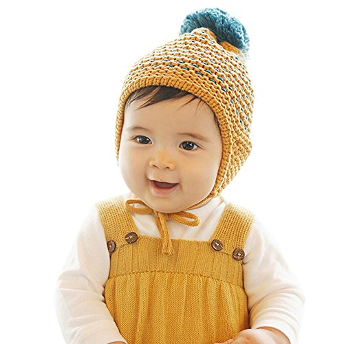 Girls Cashmere Cable (Baby Ear Cap, Malltop Cute Winter Warm Hairball Beanie Crochet For 3-24)