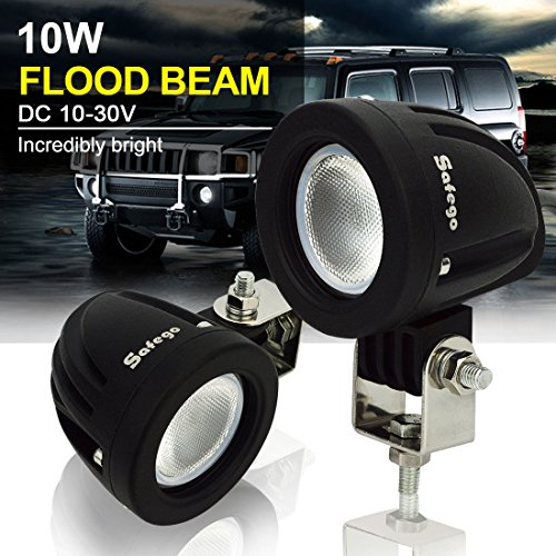 LED Light Bar 5 Inch 2Pcs Safego 10W Cree Led Work Light Lamp Flood Beam 12V 24V for Jeep,Truck Off Road Lights 4X4 Atv Tractor 60 Degree Round,2 Years Warranty