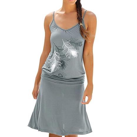 SMILEQ Vestido de Mujer Casual con Estampado de Plumas Falda sin ...