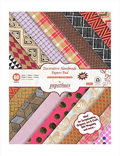 "Paperhues Decorative Scrapbook Papers 8.5x11"" Pad, 60 Sheets, Assorted Colors. Forever Collection. Specialty Handmade Origami Papers for Scrapbooking, Cards, Gift Wrap, Decoupage, Art &Craft."