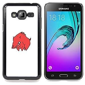 - Red Bore Pig - - Cubierta del caso de impacto con el patr??n Art Designs FOR Samsung Galaxy J3 Queen Pattern