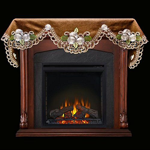 Cut Scarf - Embroidered Fireplace Mantel Scarf with White Daisy on Brown Linen and Cut Work 19