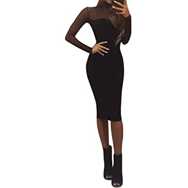 Damen Etuikleid Langarm Schwarz Kleid Bodycon Tunikakleid Pencil ...