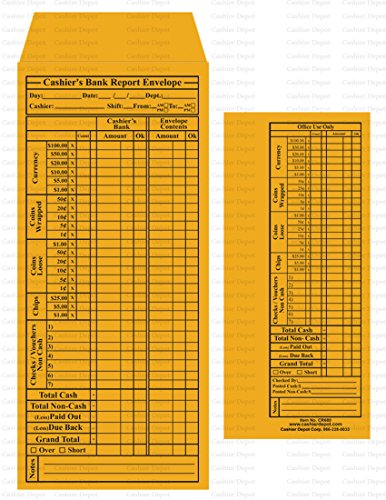 Cashier Depot CR680 Bank Report Envelopes, Kraft 24 lb., 500/Box