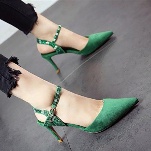 YMFIE La Moda Femenina Temperamento Fuerte Remaches Sandalias de tacón Delgado Verano Sexy Superficial y Zapatos de tacón. green