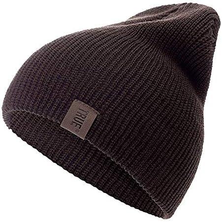 WAZHX Sombrero PU Letra True Gorros Casuales para Hombres Mujeres Sombrero De Invierno De Punto Cálido Moda Sólido Hip-Hop Beanie Hat Gorra Unisex