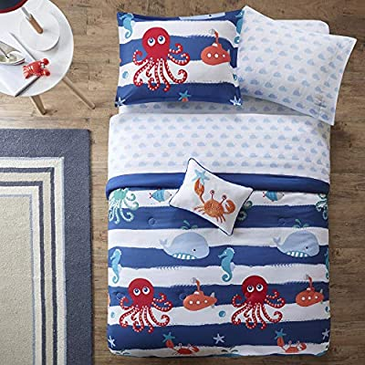 Mi Zone Kids Sealife Twin Kids Bedding Sets for Boys - Blue, Octopus – 6 Pieces Boy Comforter Set – Ultra Soft Microfiber Kid Childrens Bedroom Comforters: Home & Kitchen