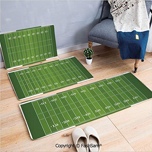 FashSam 3 Piece Flannel Doormat Sports Field in Green Gridiron Yard Competitive Games College Teamwork Superbowl for Kitchen Rugs Carpet(W15.7xL23.6 by W19.6xL31.5 by W31.4xL47.2)