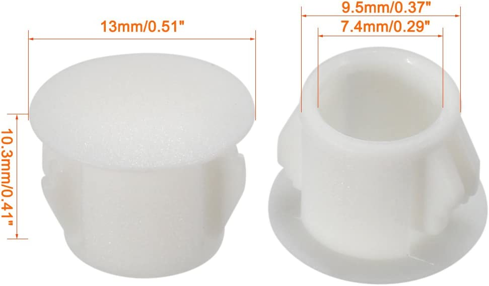 sourcingmap Hold Plugs,20 pcs 16mm x 10.2mm White Nylon Round Snap Locking Panel Hole Cover