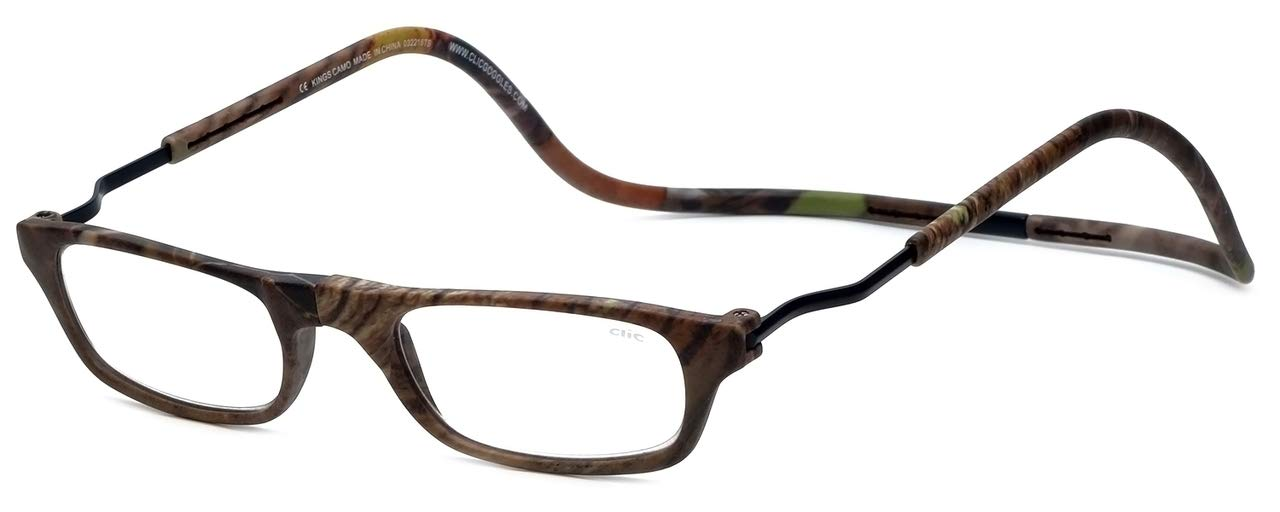 Clic XXL Magnetic Front connection Reading Sunglasses in Camo with Blue Light Filter + A/R Lenses +1.00