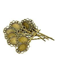 MonkeyJack 10Pcs/Lot Vintage Bronze Gothic Flower Blank Oval Hair Clip Pin Charming Headwear for DIY
