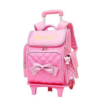 Mochila Escolar Trolley Chicas - Encantador Estilo Princesa Bookbag con Ruedas Bolsa de Hombro Bolsillos Múltiples BESBOMIG: Amazon.es: Equipaje