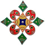Diwali Christmas Decorations - Rangoli - Indian Home Decor Decoration from India - 9 Piece Wooden Handmade