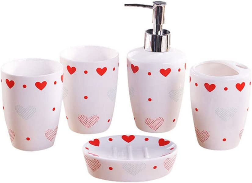 Red Heart Pattern Design 5 Piece Bathroom Accessory Set Including Soap Dish Dispenser Toothbrush Holder And Tumbler Home Kitchen Amazon Com