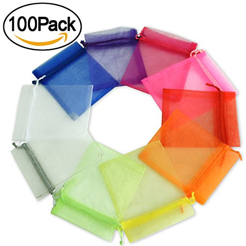 10 Sheer Organza Drawstring Pouches (kingleder 100 PCS Assorted Colors Size Drawstring Organza Gift Bags Jewelry Pouches Fetival Wedding Party Favor Candy Bags (Mixed Colors, 6.2'' x 8.5''))