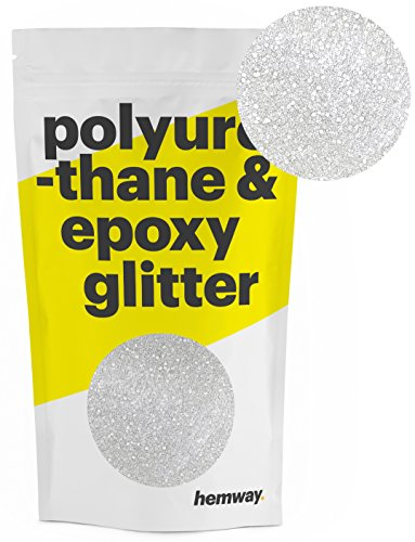 Hemway Metallic Glitter Floor Crystals for Epoxy Resin Flooring (500g) Domestic, Commercial, Industrial - Garage, Basement - Can be used with Internal & External (White) by Hemway