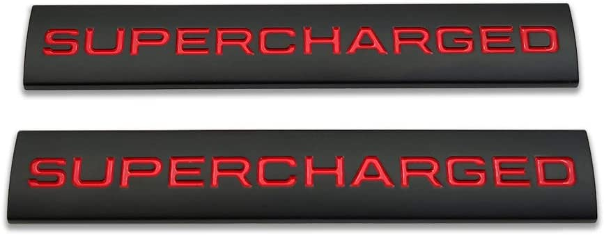2X Metal Supercharged Logo Car Emblem Premium Auto Badge Rear Trunk Sticker Side Fender Decal (Black&Red)