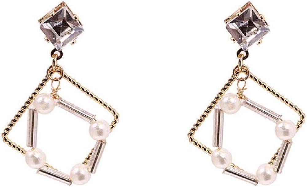 925 Aguja De Plata Hipoalergénica Geométrica Perla Cuadrada Temperamento Salvaje Diamante Simple Pendientes De Moda Regalo De Joyería Femenina