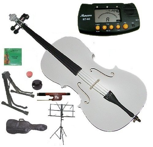 Merano 3/4 Size White Student Cello with Bag and Bow+2 Sets of Strings+Cello Stand+Black Music Stand+Metro Tuner+Rosin+Mute by Merano